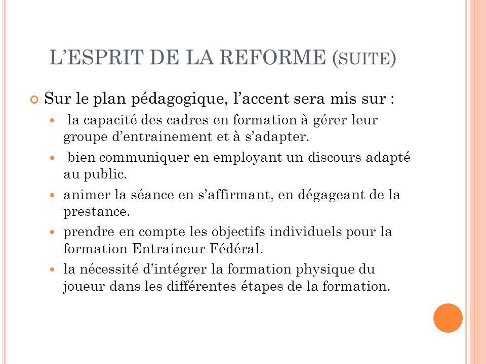 L'ESPRIT DE LA REFORME (suite)