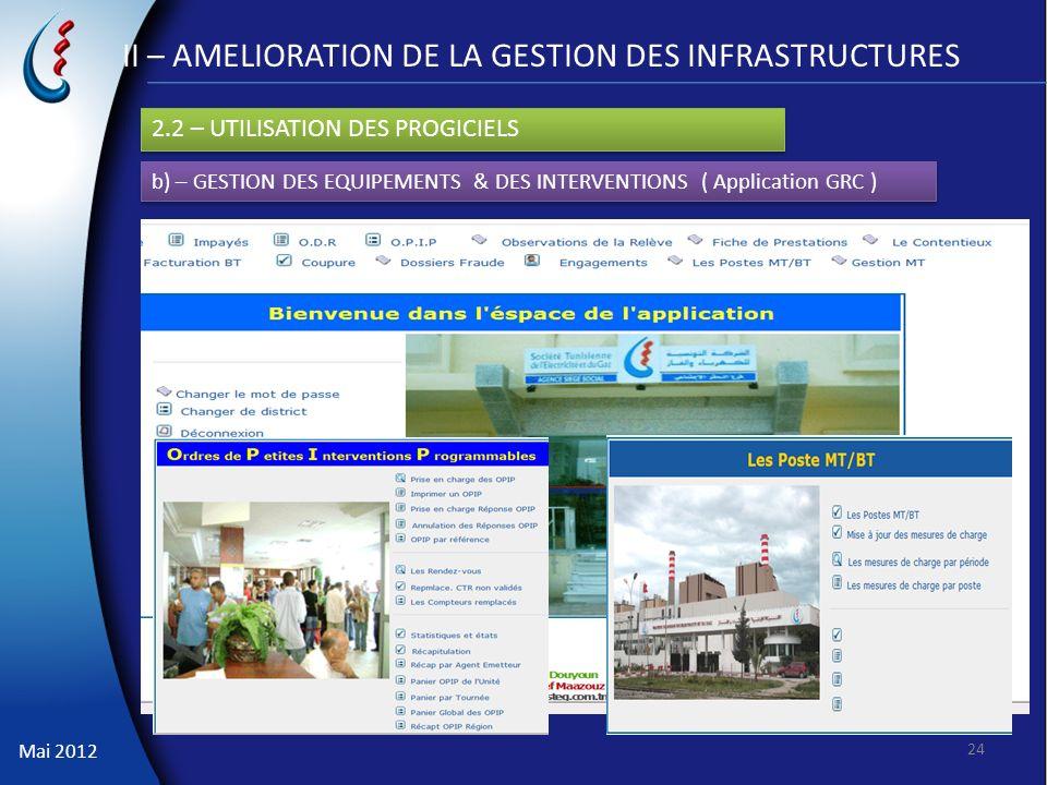 II – AMELIORATION DE LA GESTION DES INFRASTRUCTURES