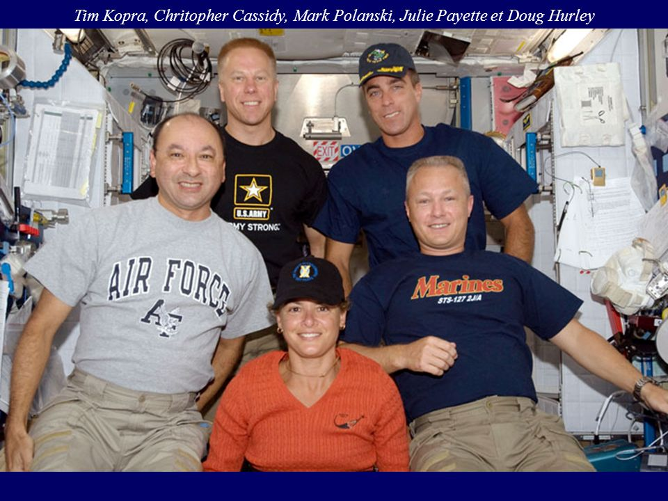 Tim Kopra, Chritopher Cassidy, Mark Polanski, Julie Payette et Doug Hurley