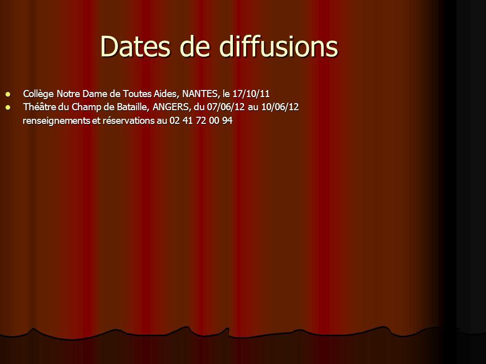 Dates de diffusions Collège Notre Dame de Toutes Aides, NANTES, le 17/10/11. Théâtre du Champ de Bataille, ANGERS, du 07/06/12 au 10/06/12.
