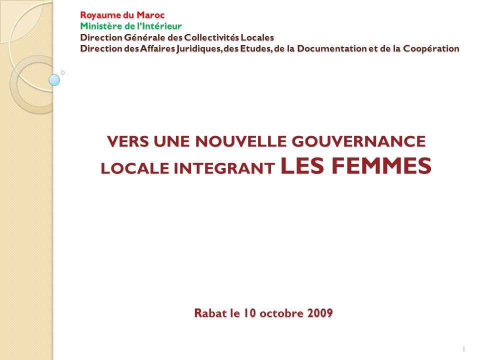 VERS UNE NOUVELLE GOUVERNANCE LOCALE INTEGRANT LES FEMMES
