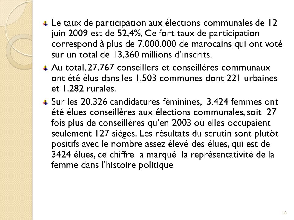 Le taux de participation aux élections communales de 12 juin 2009 est de 52,4%, Ce fort taux de participation correspond à plus de 7.000.000 de marocains qui ont voté sur un total de 13,360 millions d'inscrits.
