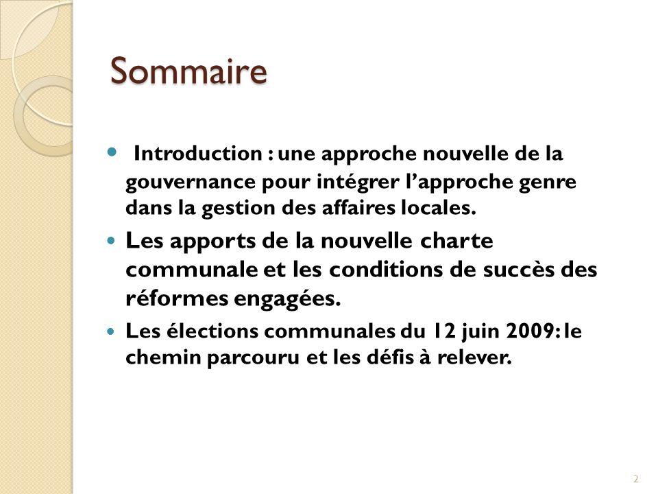 Sommaire Introduction : une approche nouvelle de la gouvernance pour intégrer l'approche genre dans la gestion des affaires locales.
