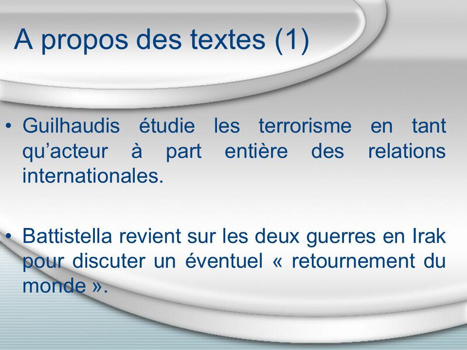 A propos des textes (1) Guilhaudis étudie les terrorisme en tant qu'acteur à part entière des relations internationales.