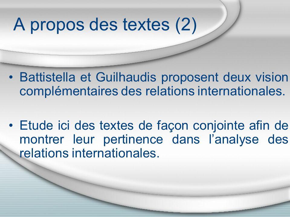 A propos des textes (2) Battistella et Guilhaudis proposent deux vision complémentaires des relations internationales.