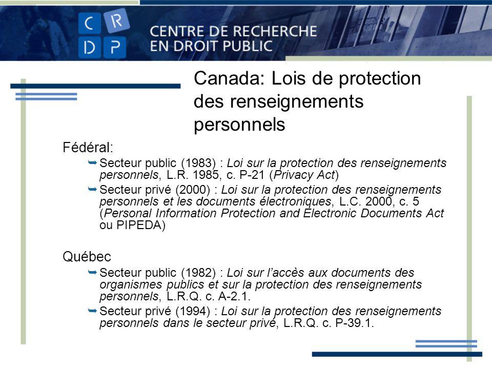 Canada: Lois de protection des renseignements personnels