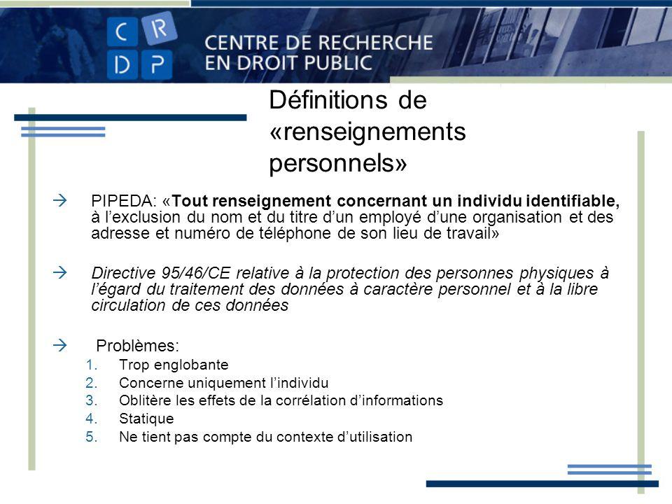 Définitions de «renseignements personnels»