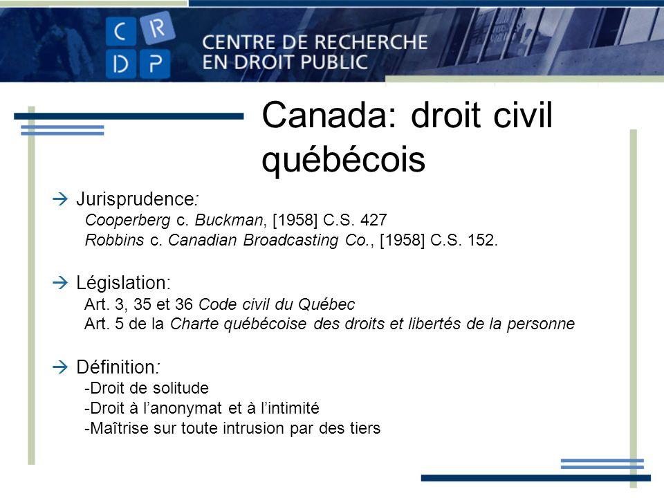 Canada: droit civil québécois