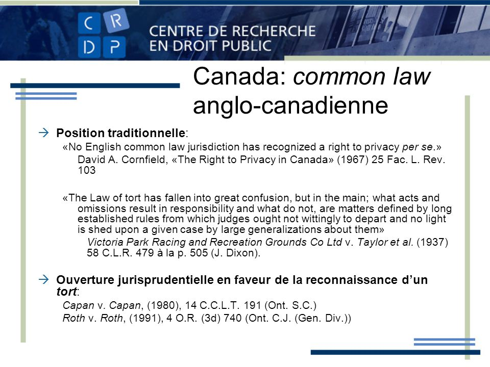 Canada: common law anglo-canadienne