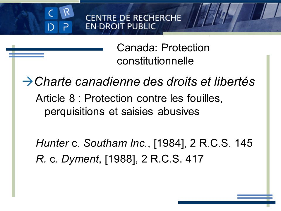 Canada: Protection constitutionnelle