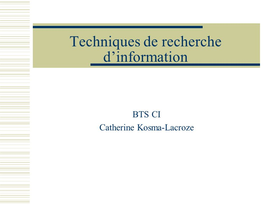 Techniques de recherche d'information