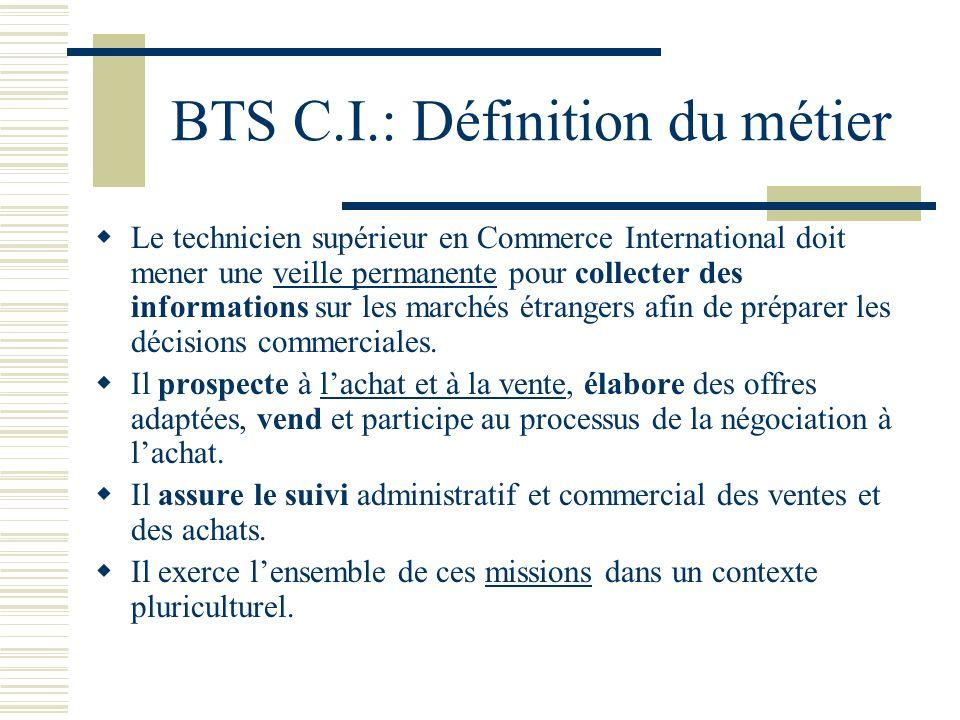 BTS C.I.: Définition du métier