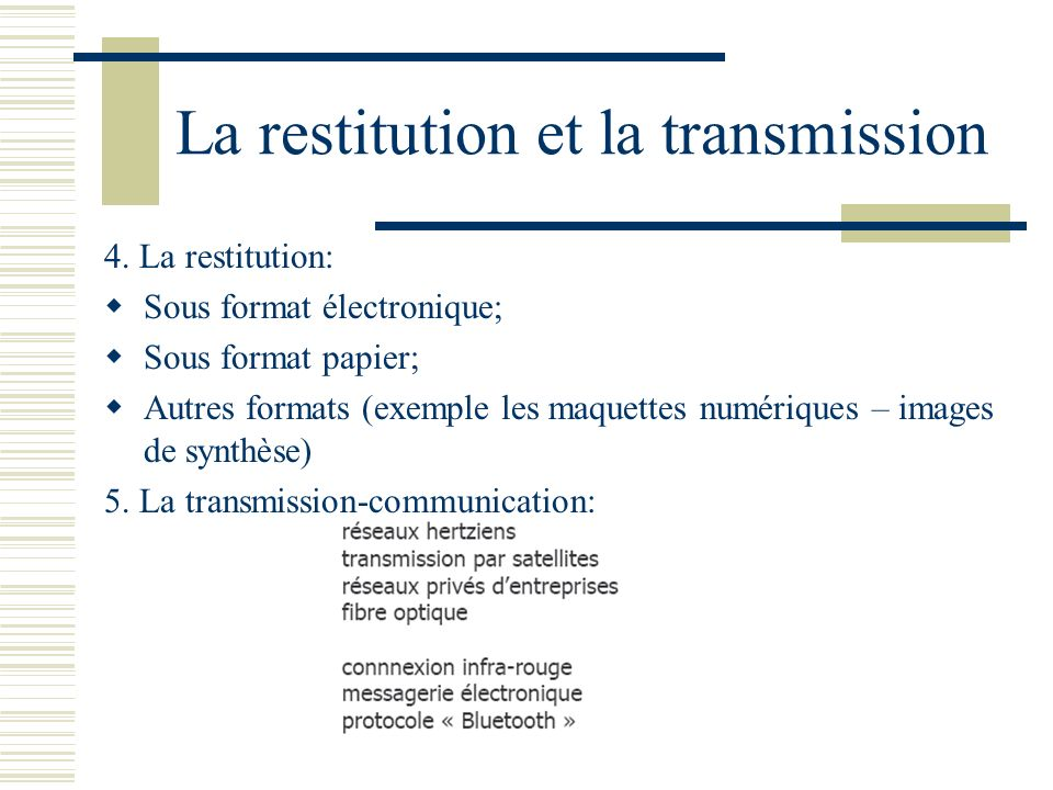 La restitution et la transmission