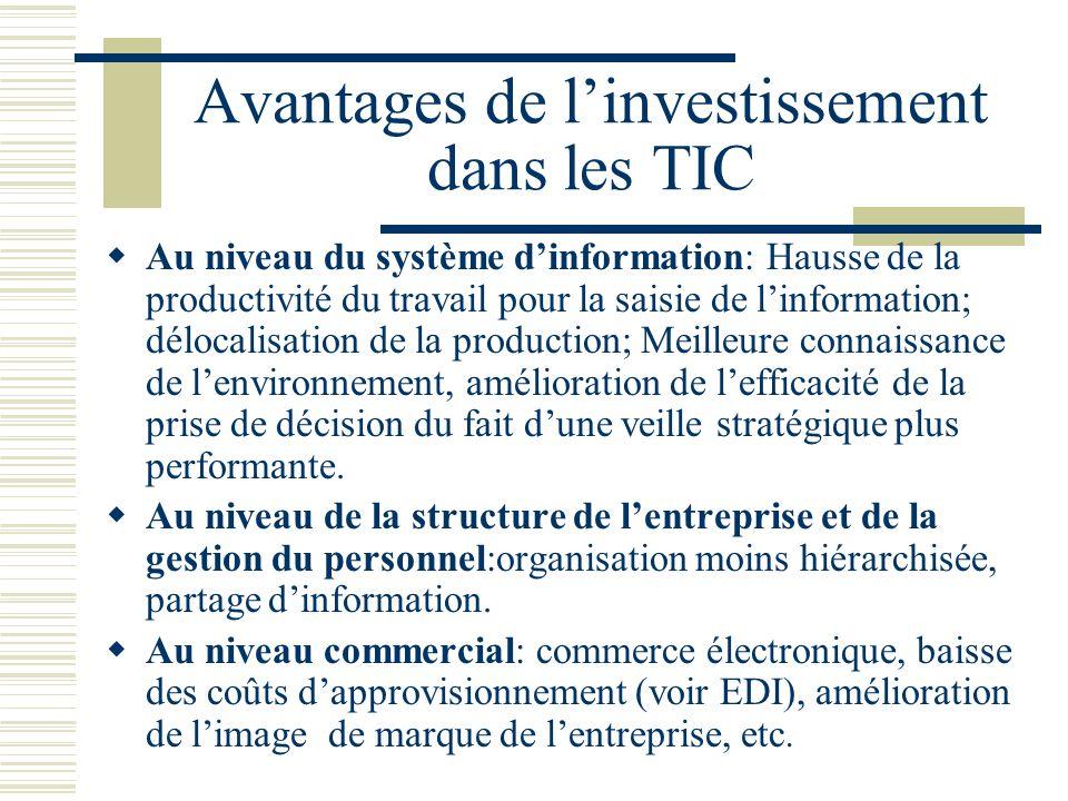 Avantages de l'investissement dans les TIC