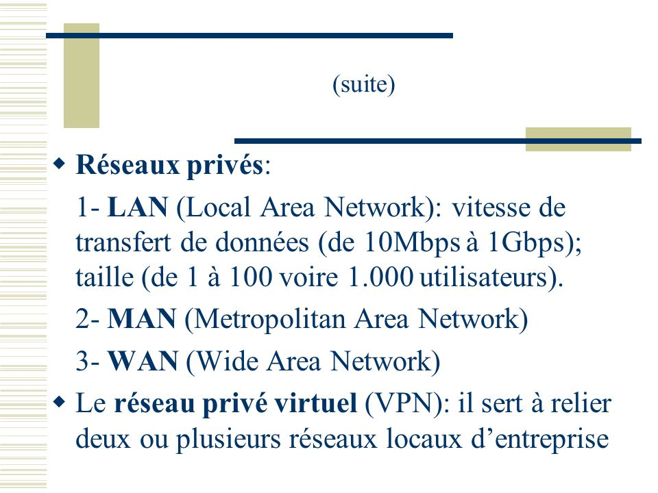 2- MAN (Metropolitan Area Network) 3- WAN (Wide Area Network)