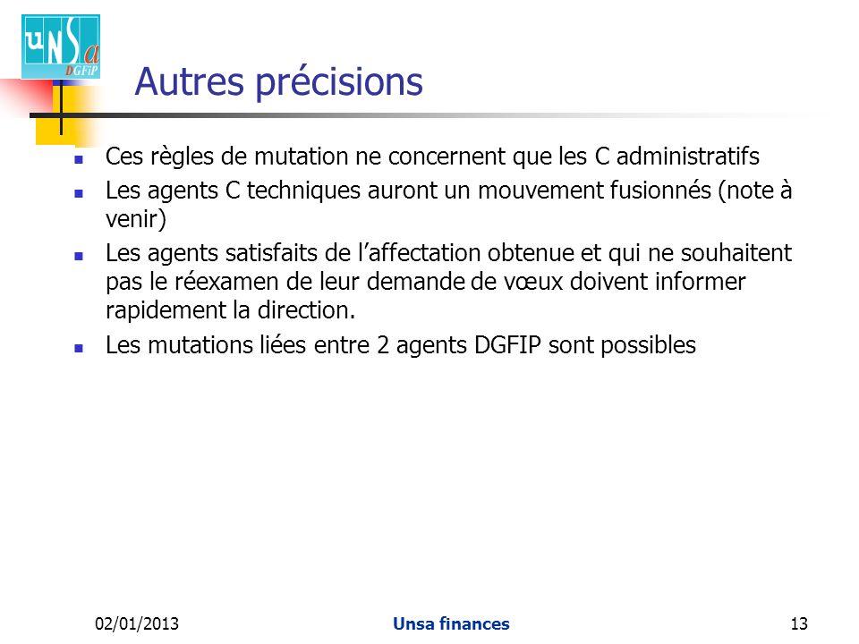 Autres précisions Ces règles de mutation ne concernent que les C administratifs.