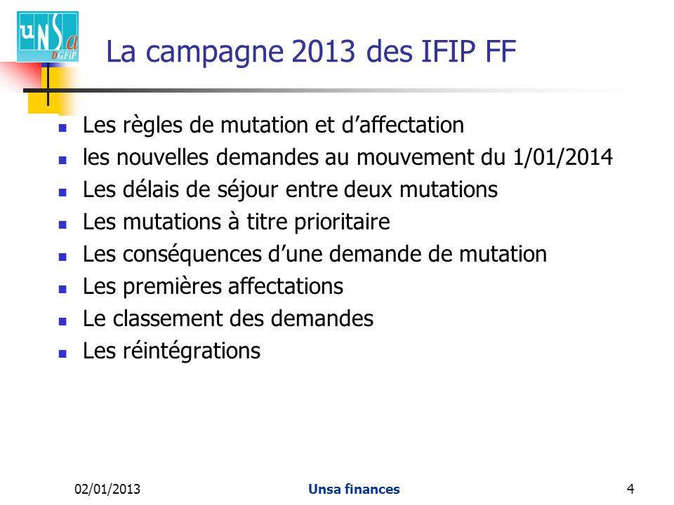 La campagne 2013 des IFIP FF Les règles de mutation et d'affectation