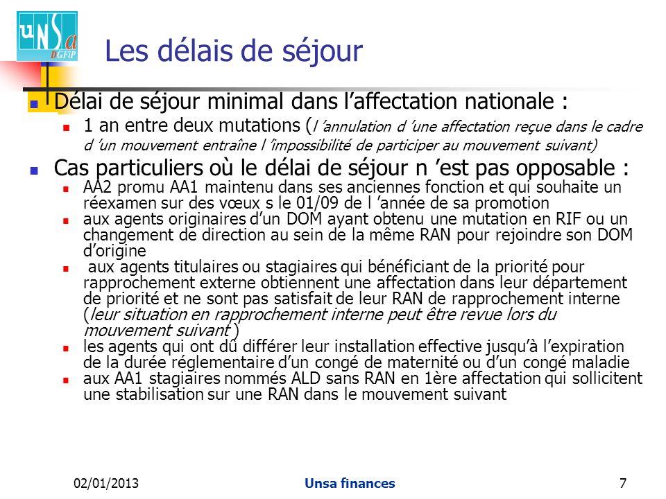 Les délais de séjour Délai de séjour minimal dans l'affectation nationale :