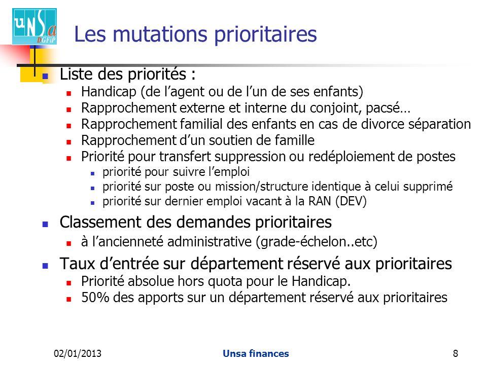 Les mutations prioritaires