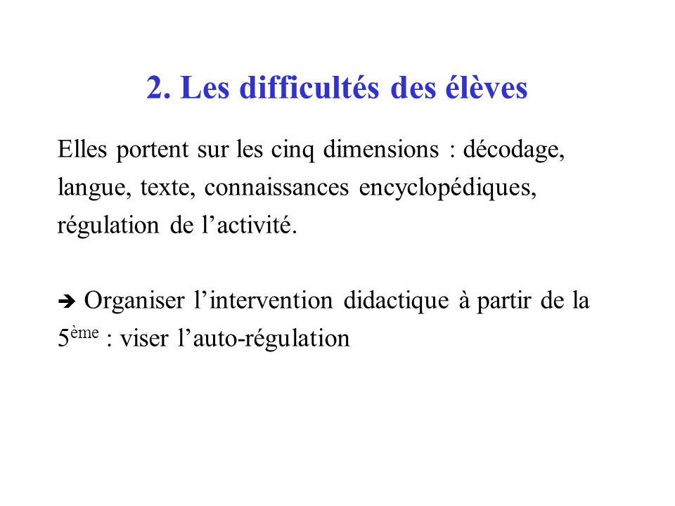 2. Les difficultés des élèves