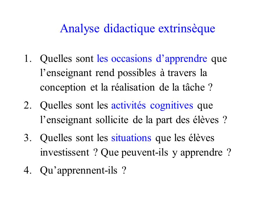Analyse didactique extrinsèque