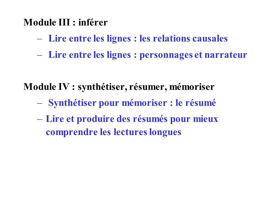 Module III : inférer Lire entre les lignes : les relations causales. Lire entre les lignes : personnages et narrateur.