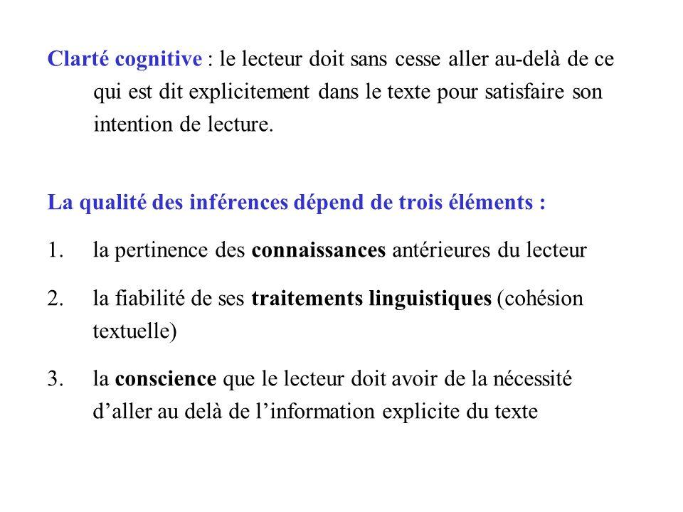 Clarté cognitive : le lecteur doit sans cesse aller au-delà de ce qui est dit explicitement dans le texte pour satisfaire son intention de lecture.