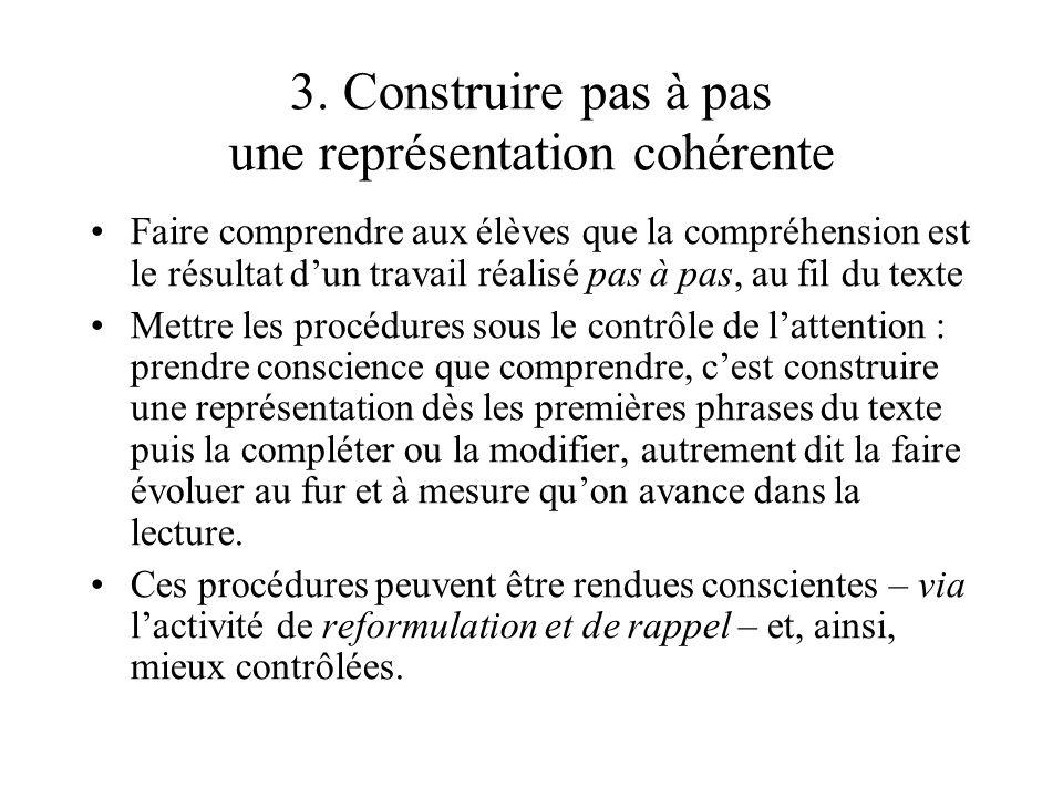 3. Construire pas à pas une représentation cohérente