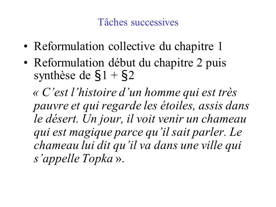Reformulation collective du chapitre 1