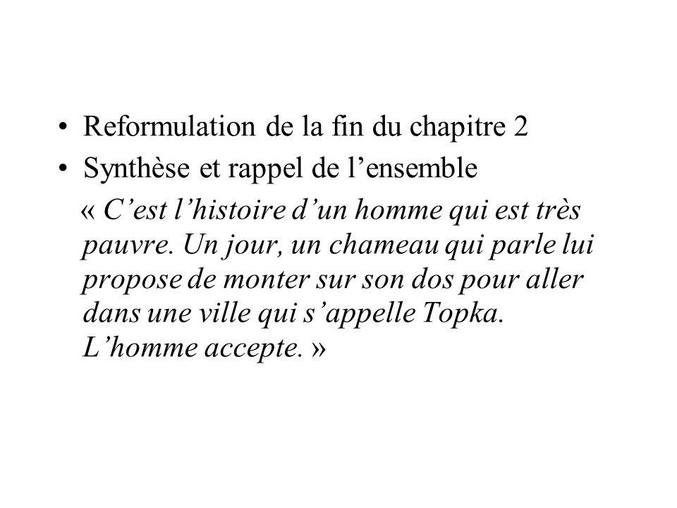 Reformulation de la fin du chapitre 2