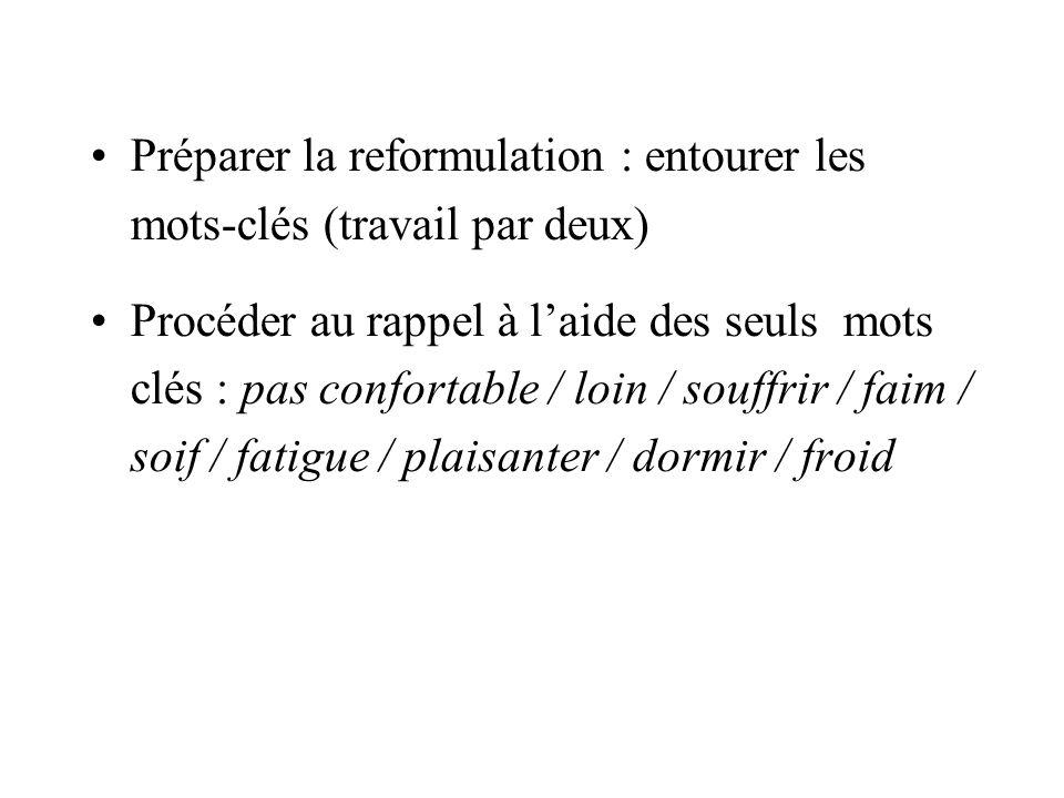 Préparer la reformulation : entourer les mots-clés (travail par deux)