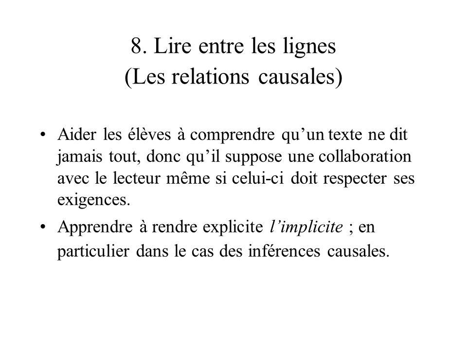 8. Lire entre les lignes (Les relations causales)