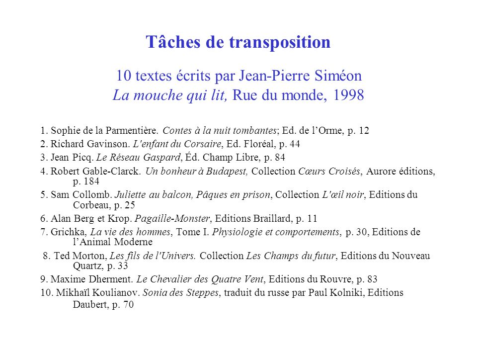 Tâches de transposition