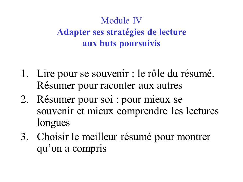 Module IV Adapter ses stratégies de lecture aux buts poursuivis