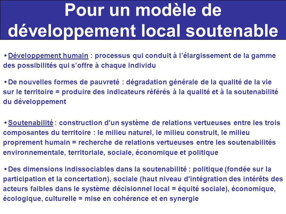 Pour un modèle de développement local soutenable