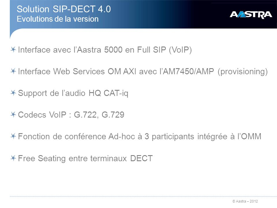 Solution SIP-DECT 4.0 Evolutions de la version