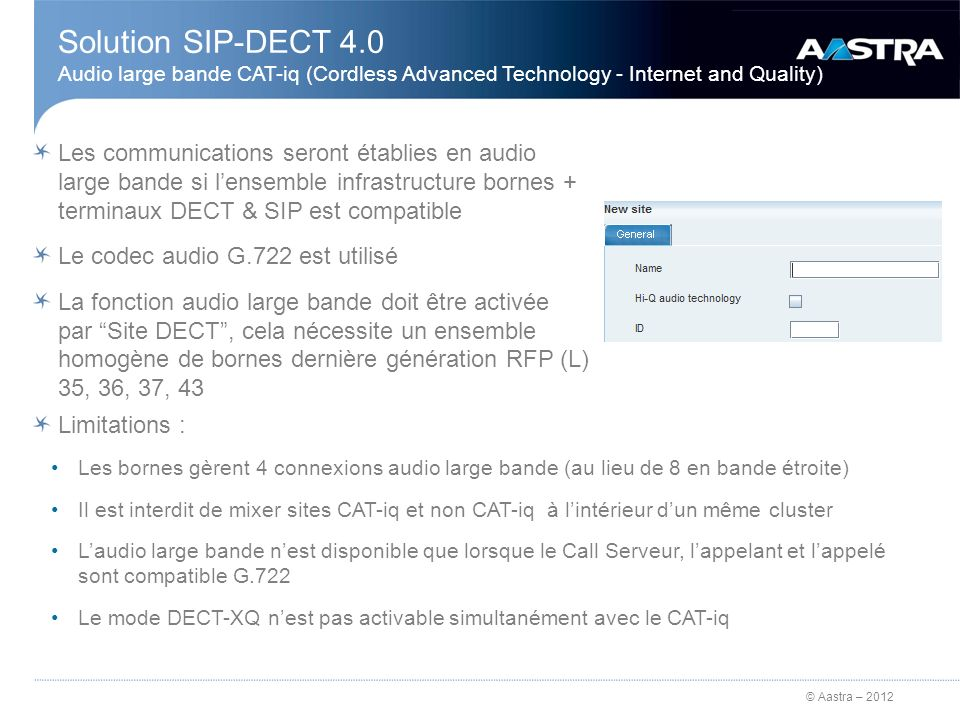 Solution SIP-DECT 4.0 Audio large bande CAT-iq (Cordless Advanced Technology - Internet and Quality)