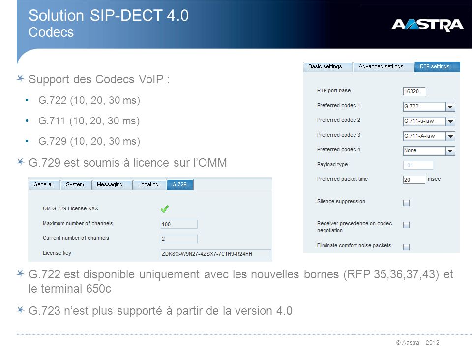 Solution SIP-DECT 4.0 Codecs