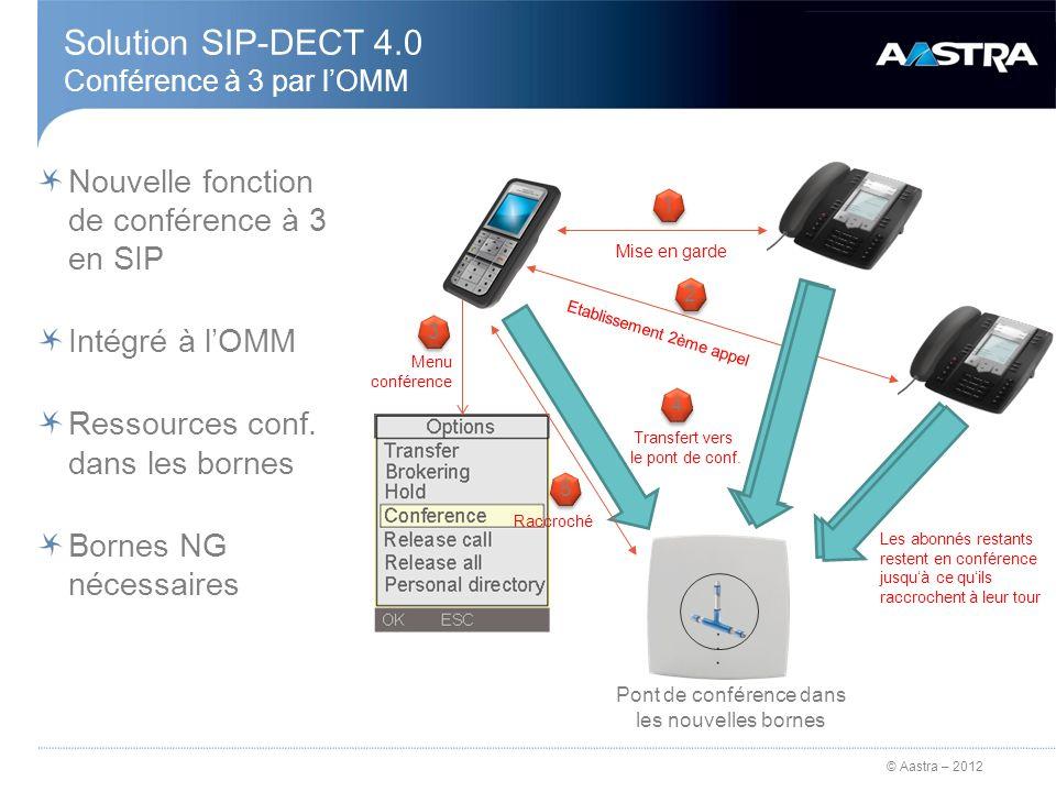 Solution SIP-DECT 4.0 Conférence à 3 par l'OMM