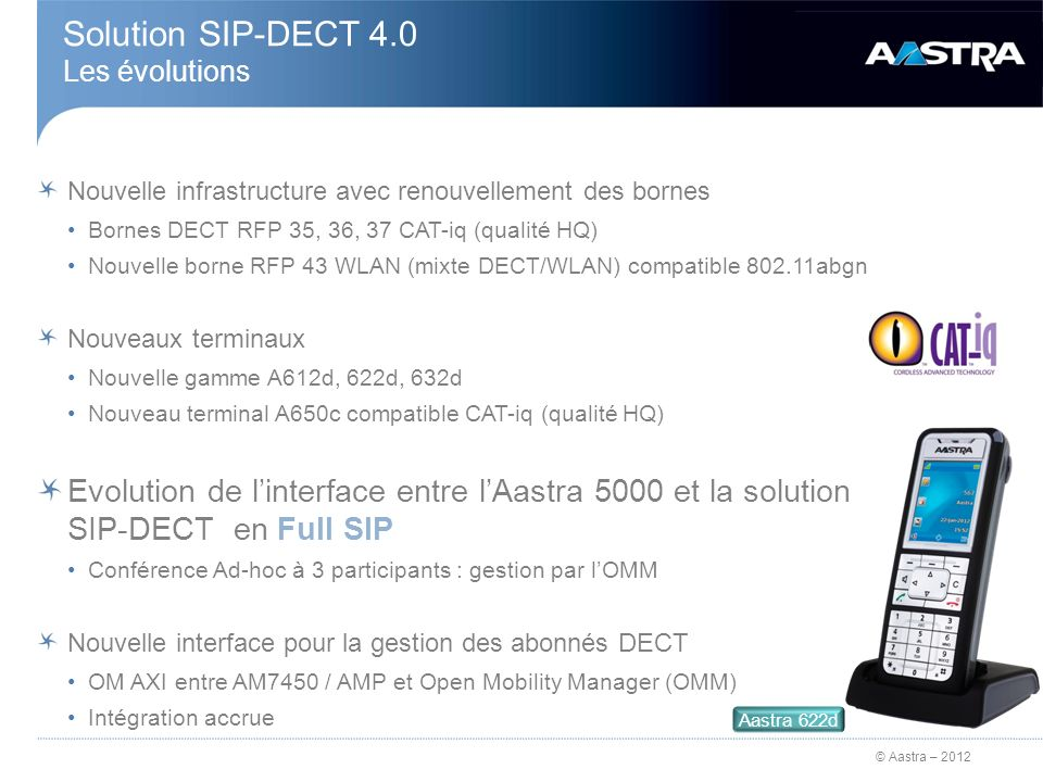 Solution SIP-DECT 4.0 Les évolutions
