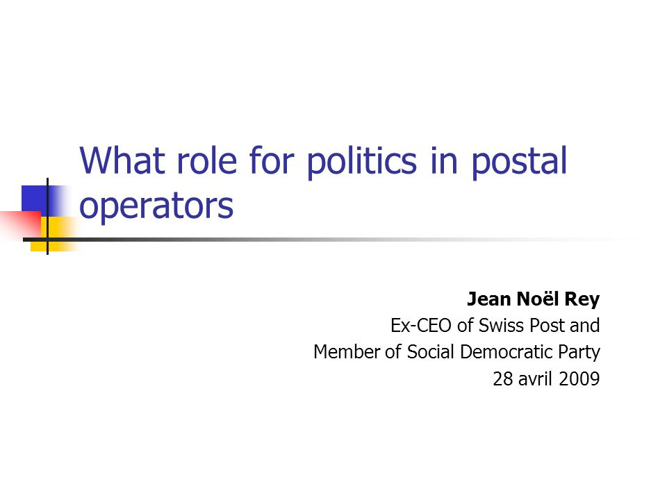What role for politics in postal operators