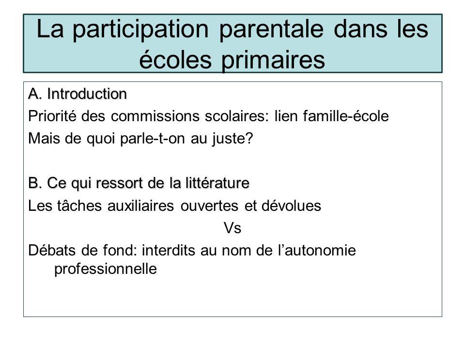 La participation parentale dans les écoles primaires