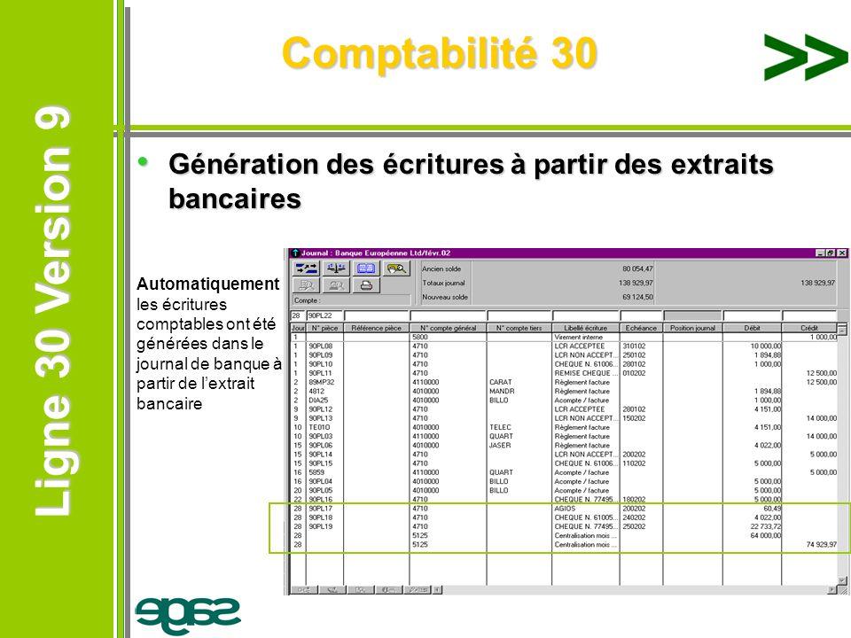 Comptabilité 30 Génération des écritures à partir des extraits bancaires.
