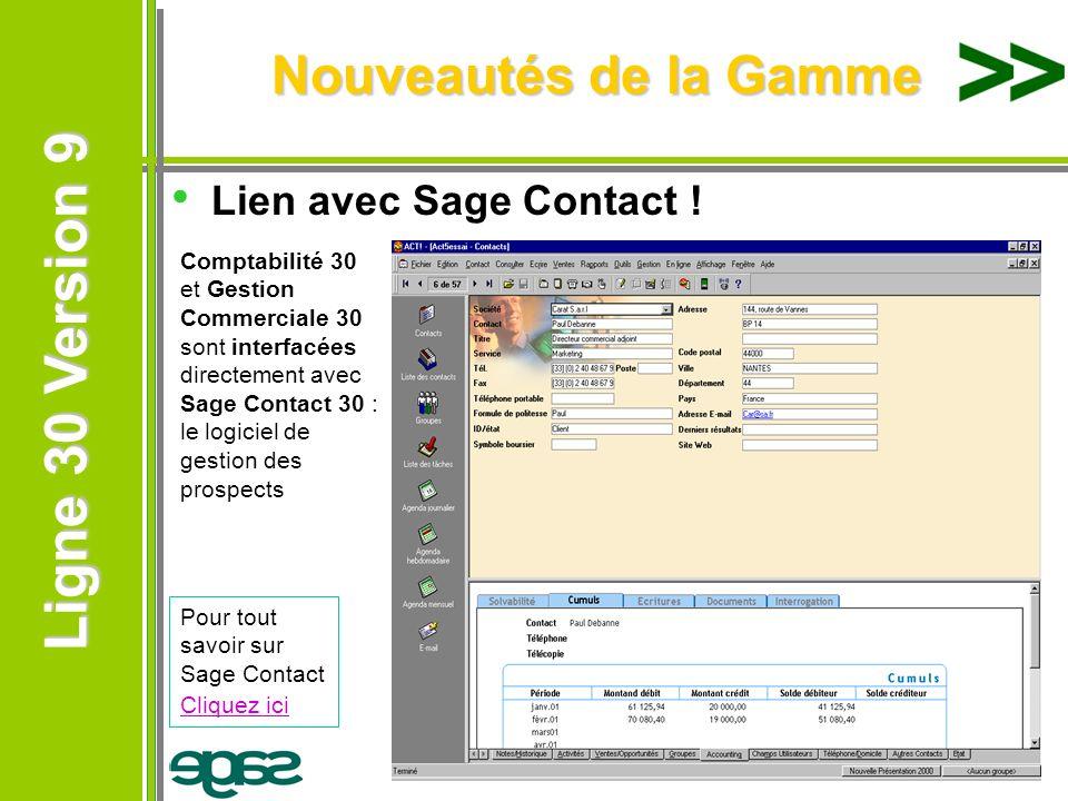 Nouveautés de la Gamme Lien avec Sage Contact !