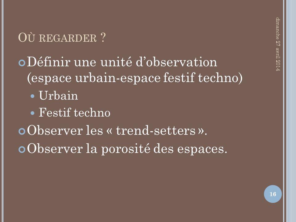 Définir une unité d'observation (espace urbain-espace festif techno)