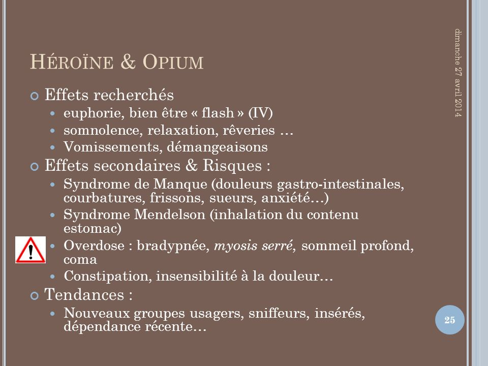Héroïne & Opium Effets recherchés Effets secondaires & Risques :