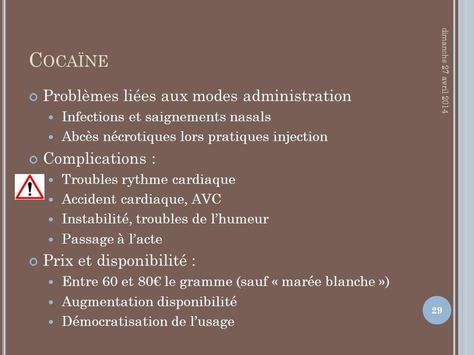 Cocaïne Problèmes liées aux modes administration Complications :