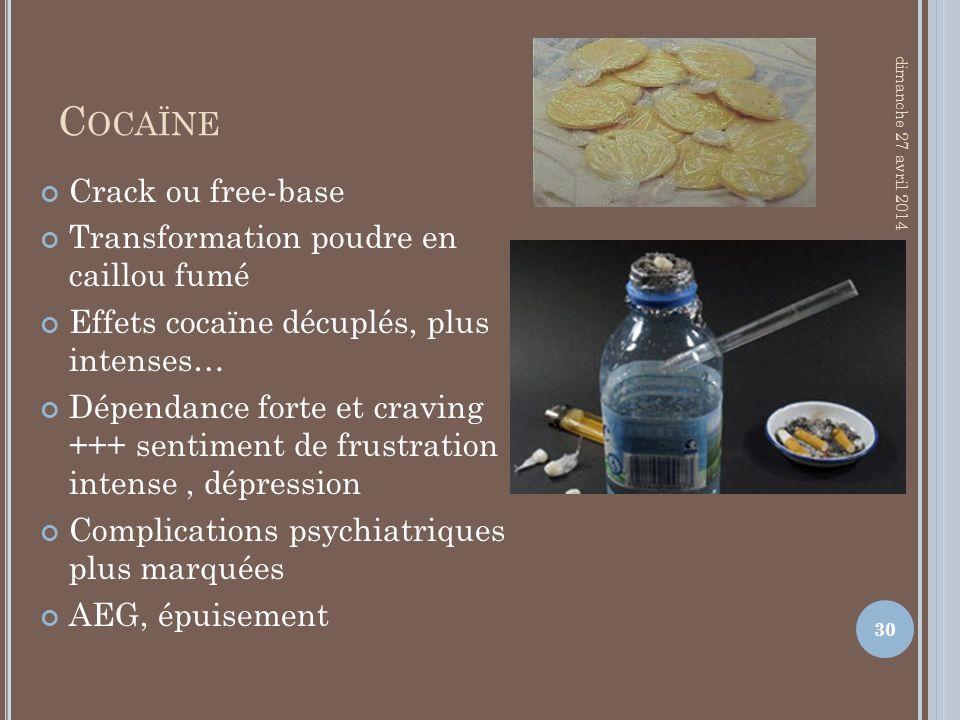 Cocaïne Crack ou free-base Transformation poudre en caillou fumé