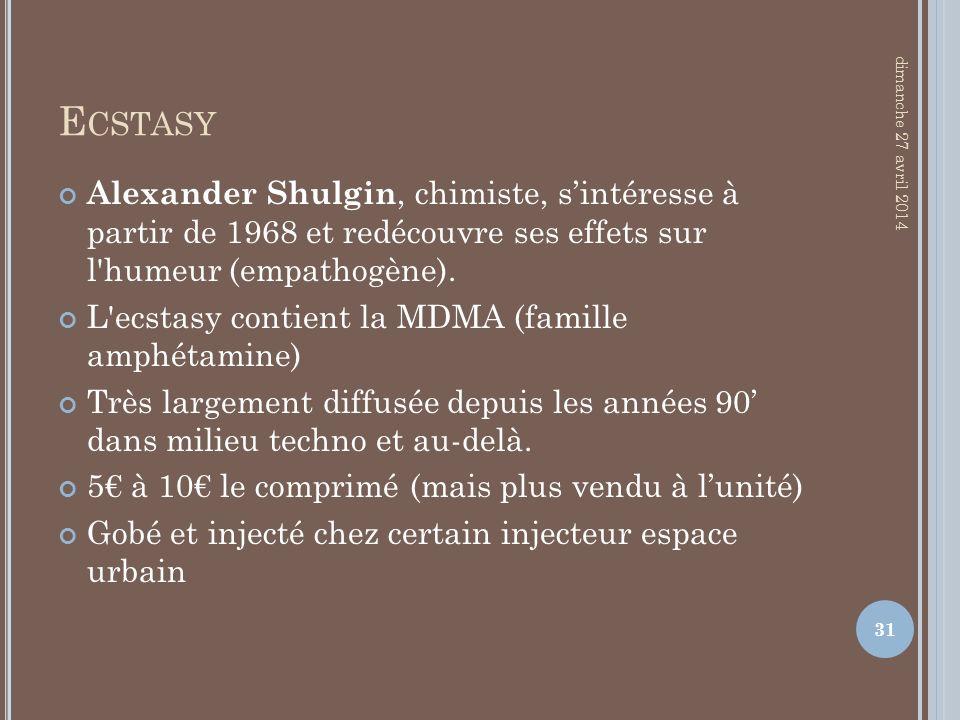Ecstasy jeudi 30 mars 2017. Alexander Shulgin, chimiste, s'intéresse à partir de 1968 et redécouvre ses effets sur l humeur (empathogène).