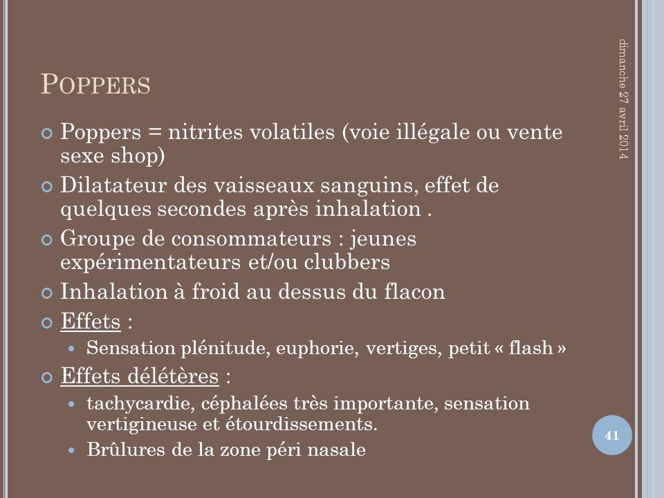 Poppers jeudi 30 mars 2017. Poppers = nitrites volatiles (voie illégale ou vente sexe shop)